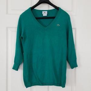 Lacoste v neck 3/4 sleeve sweater